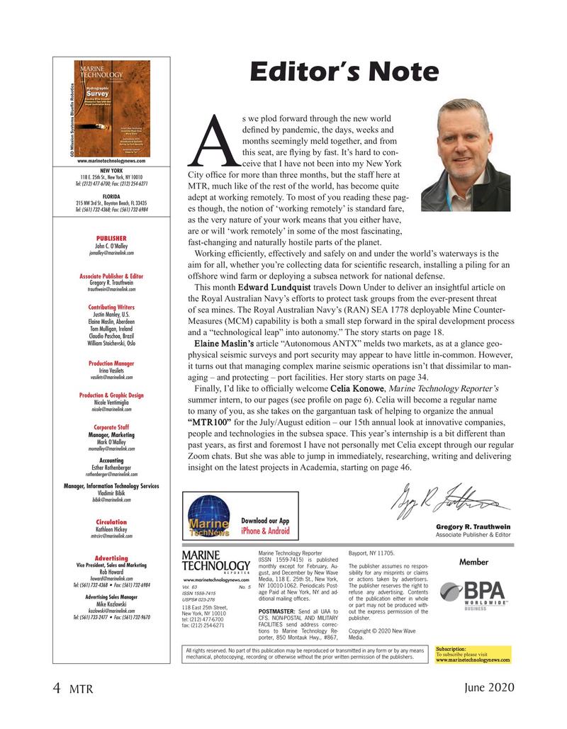 Marine Technology Magazine, page 4,  Jun 2020