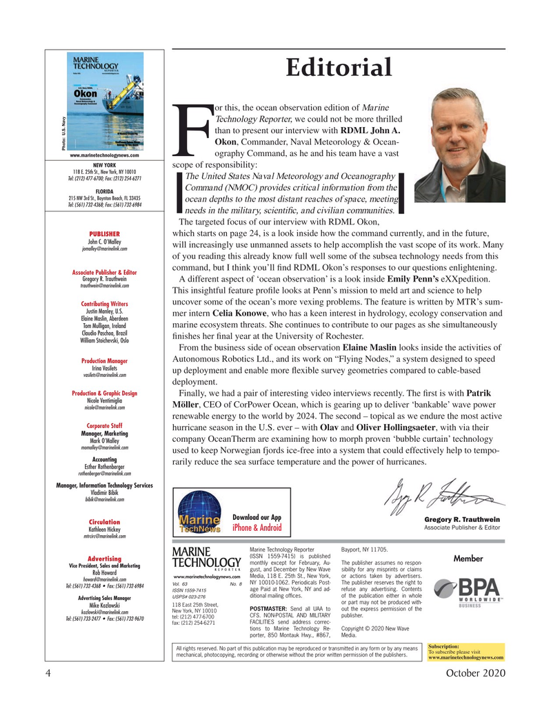 Marine Technology Magazine, page 4,  Oct 2020