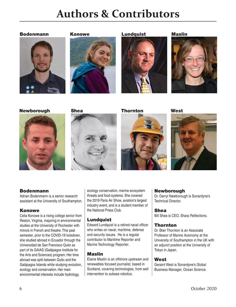 Marine Technology Magazine, page 6,  Oct 2020