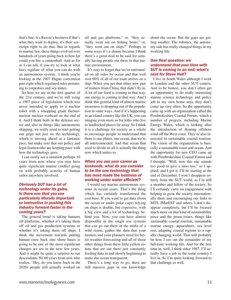 Marine Technology Magazine, page 33,  Nov 2020