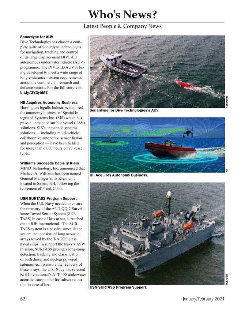 Marine Technology Magazine, page 62,  Jan 2021