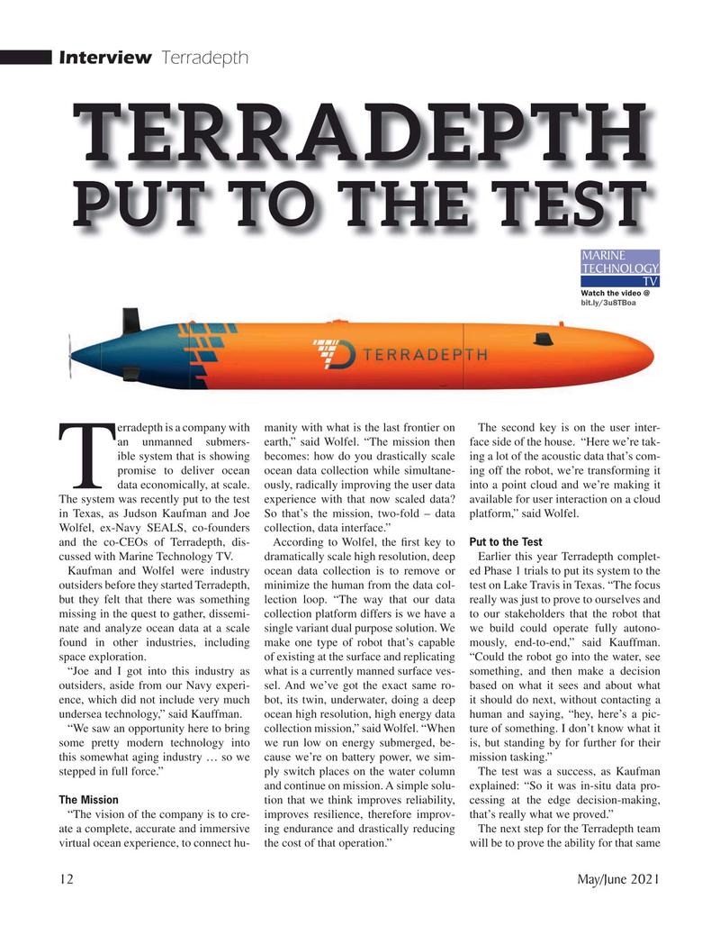 Marine Technology Magazine, page 12,  May 2021