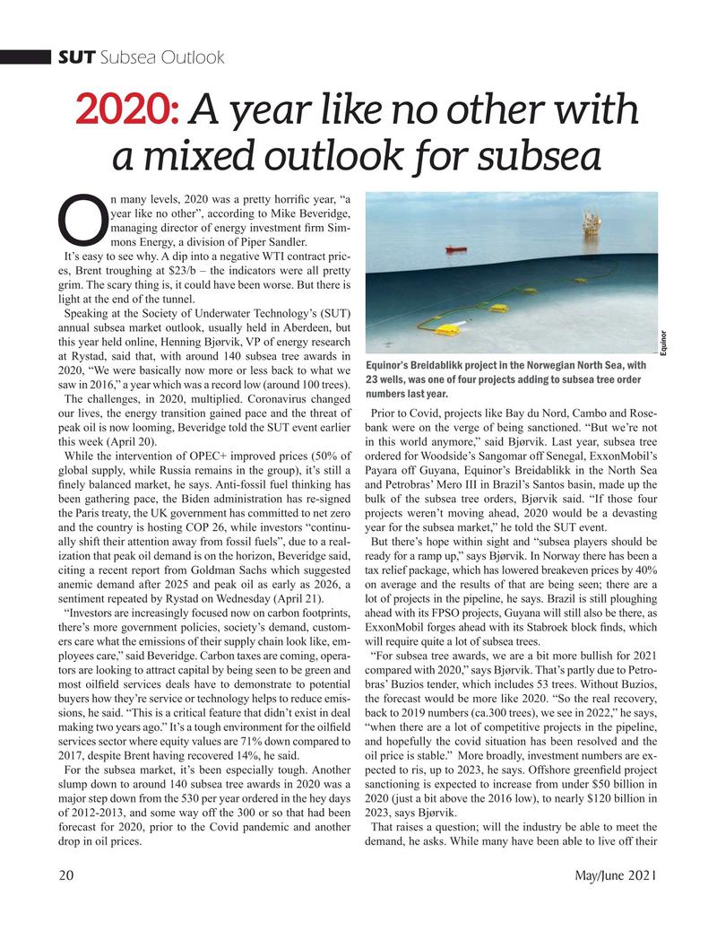 Marine Technology Magazine, page 20,  May 2021