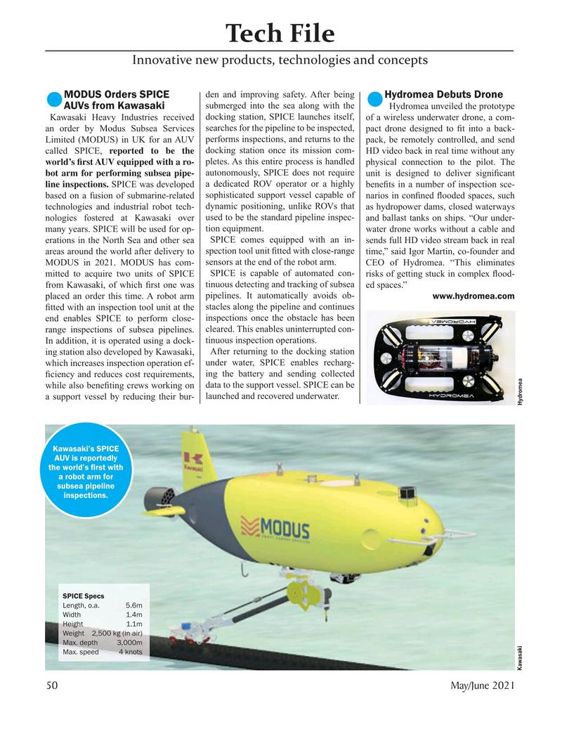 Marine Technology Magazine, page 50,  May 2021