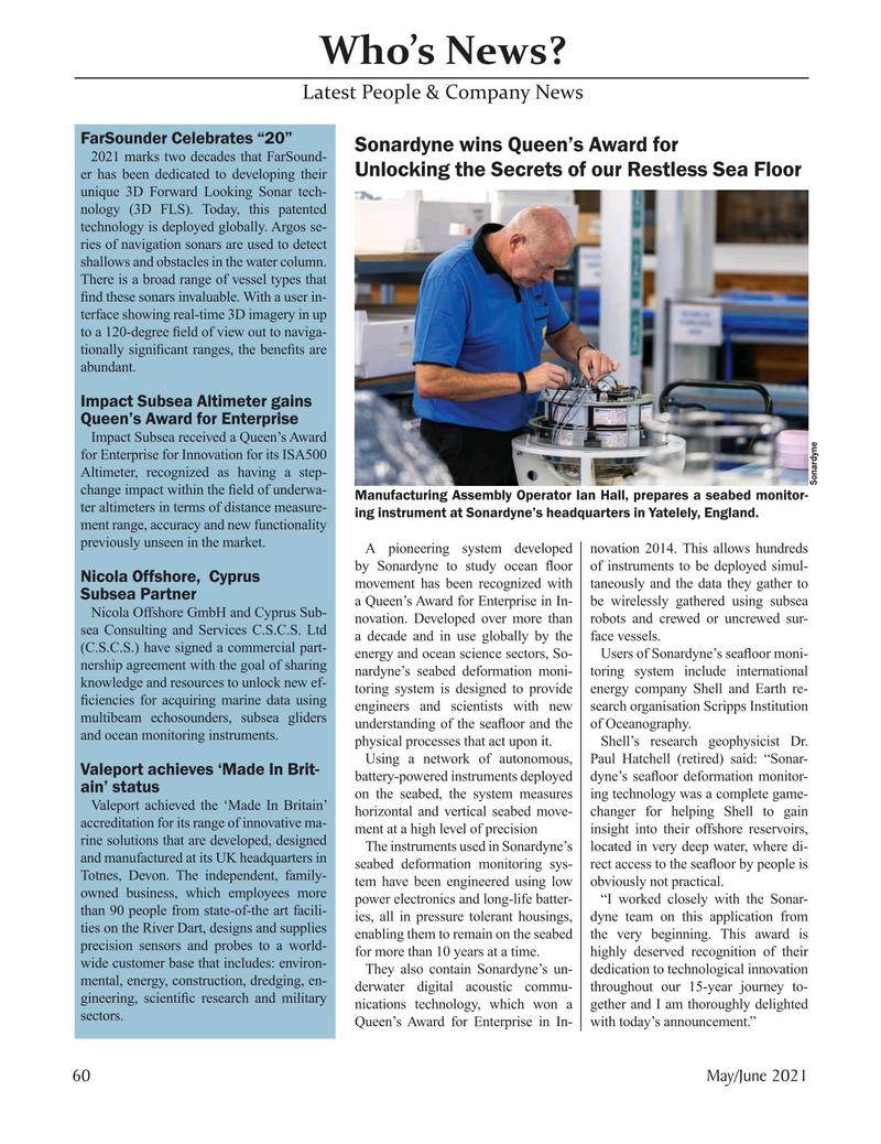 Marine Technology Magazine, page 60,  May 2021