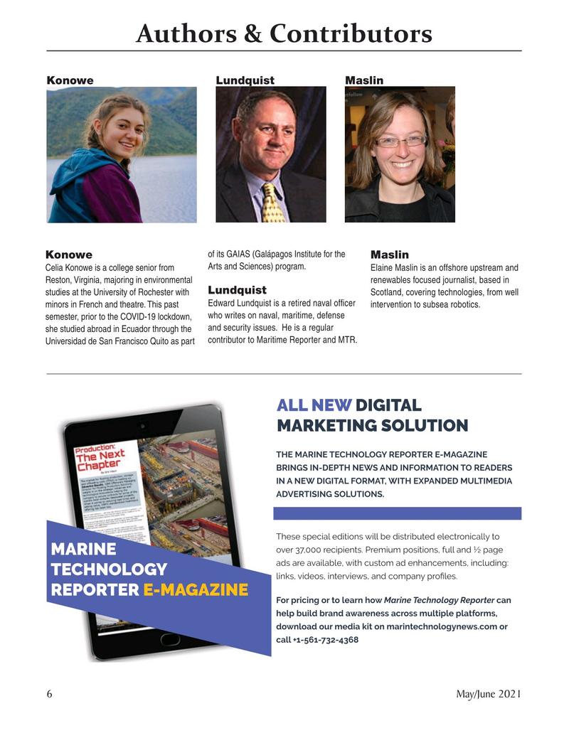 Marine Technology Magazine, page 6,  May 2021