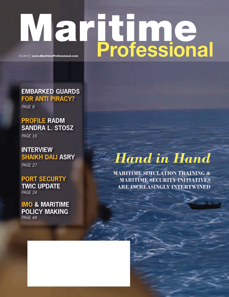 Maritime Logistics Professional Magazine Cover Q1 2012 - Training & Maritime Security