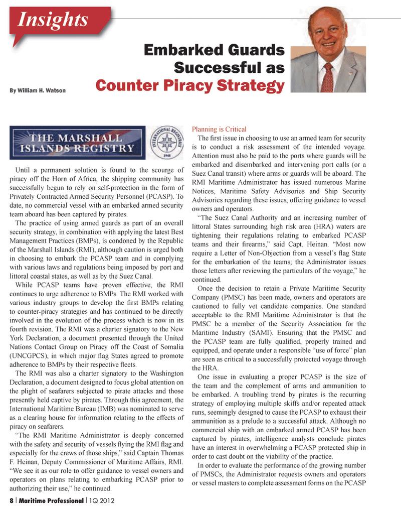 Maritime Logistics Professional Magazine, page 8,  Q1 2012 Somalia