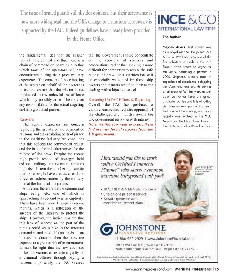 Maritime Logistics Professional Magazine, page 15,  Q1 2012 United Kingdom