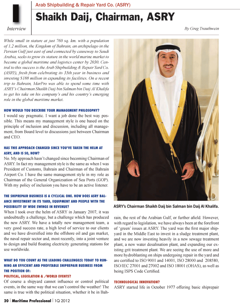 Maritime Logistics Professional Magazine, page 20,  Q1 2012 Middle East
