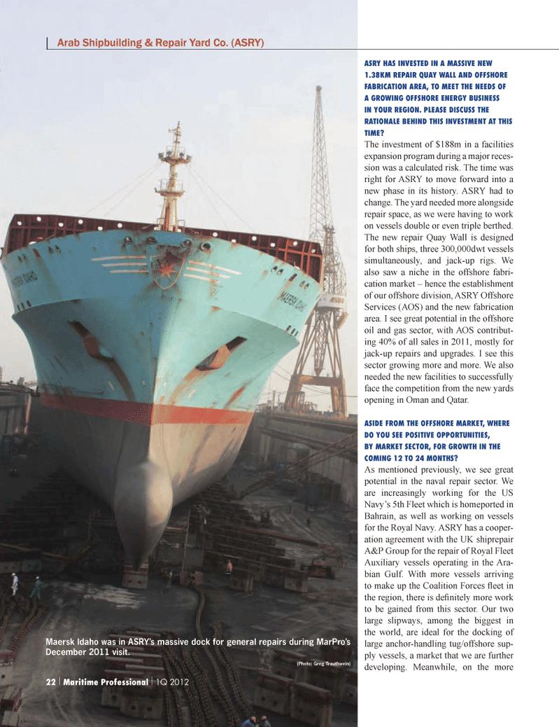 Maritime Logistics Professional Magazine, page 22,  Q1 2012 United States Navy