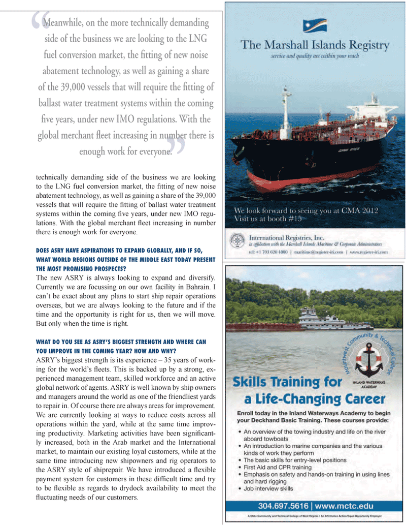 Maritime Logistics Professional Magazine, page 23,  Q1 2012 noise abatement technology