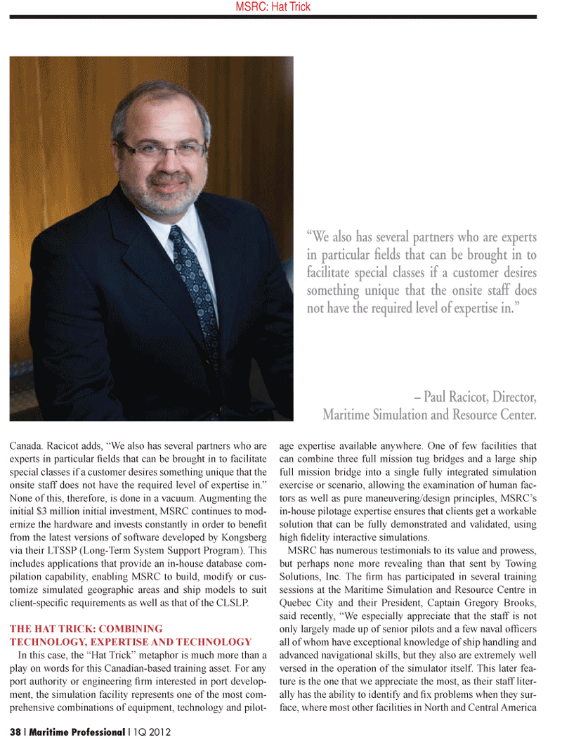 Maritime Logistics Professional Magazine, page 38,  Q1 2012 Gregory Brooks