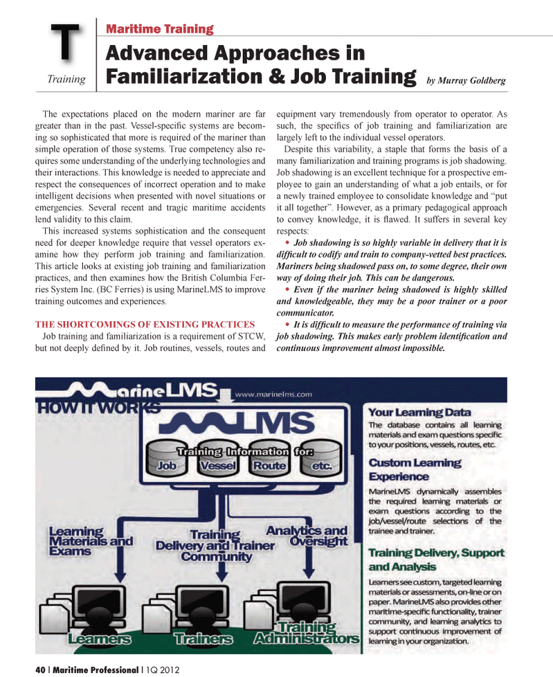 Maritime Logistics Professional Magazine, page 40,  Q1 2012 Murray GoldbergTTraining
