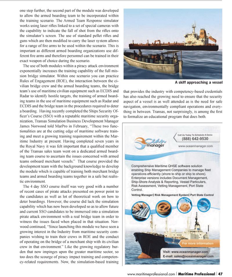 Maritime Logistics Professional Magazine, page 47,  Q1 2012 James Norwood