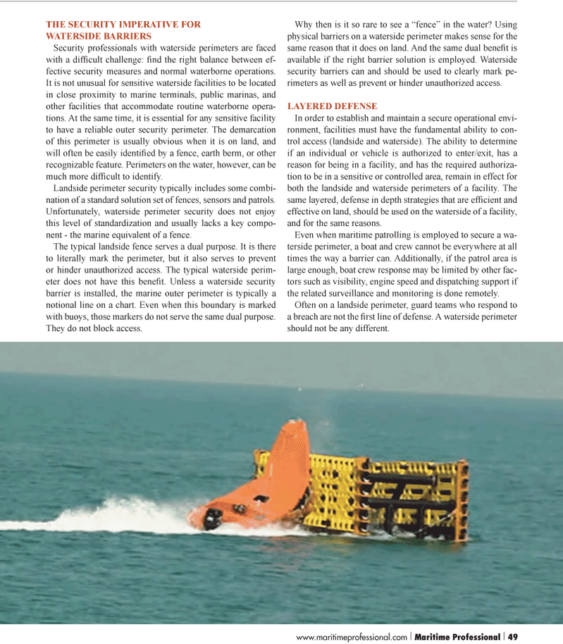 Maritime Logistics Professional Magazine, page 49,  Q1 2012 barrier solution