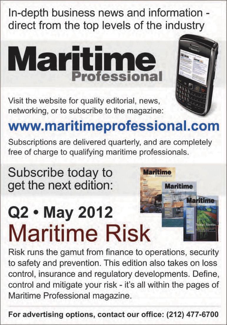 Maritime Logistics Professional Magazine, page 52,  Q1 2012