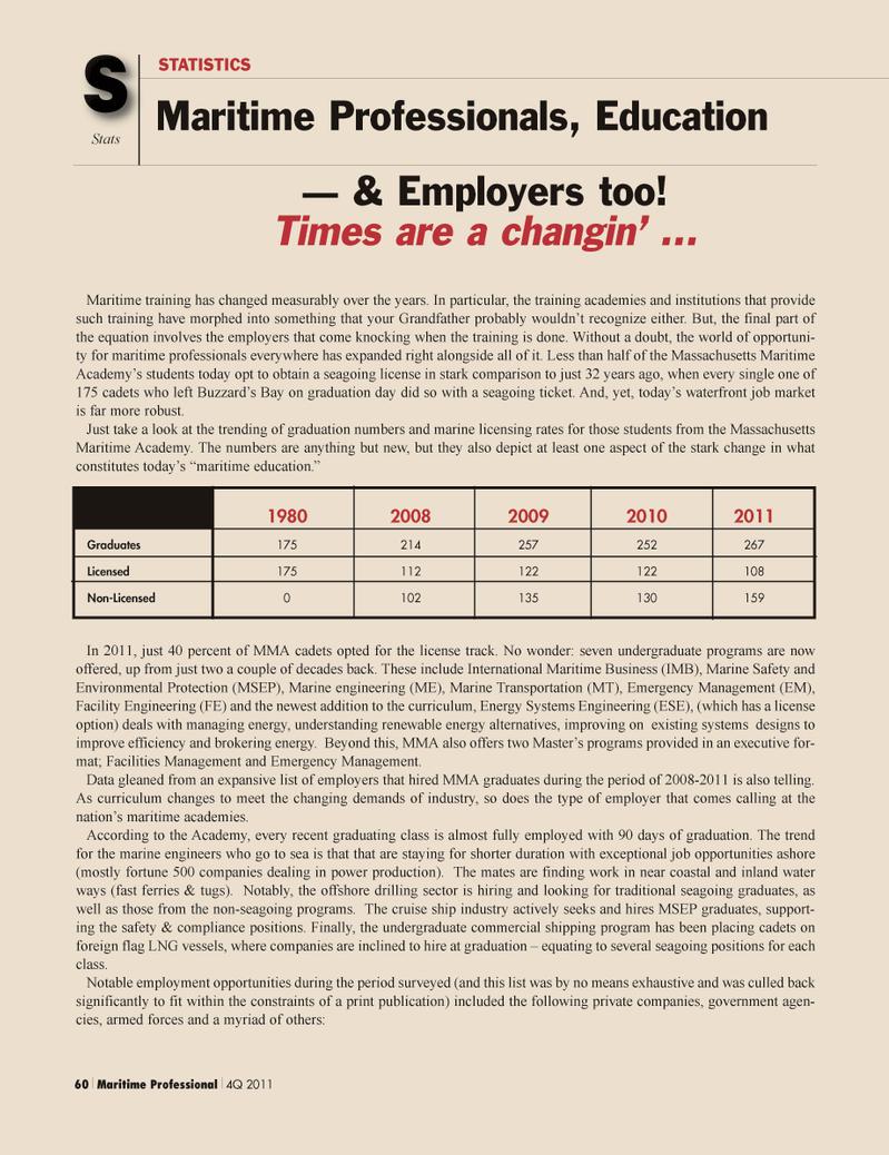 Maritime Logistics Professional Magazine, page 60,  Q1 2012 energy