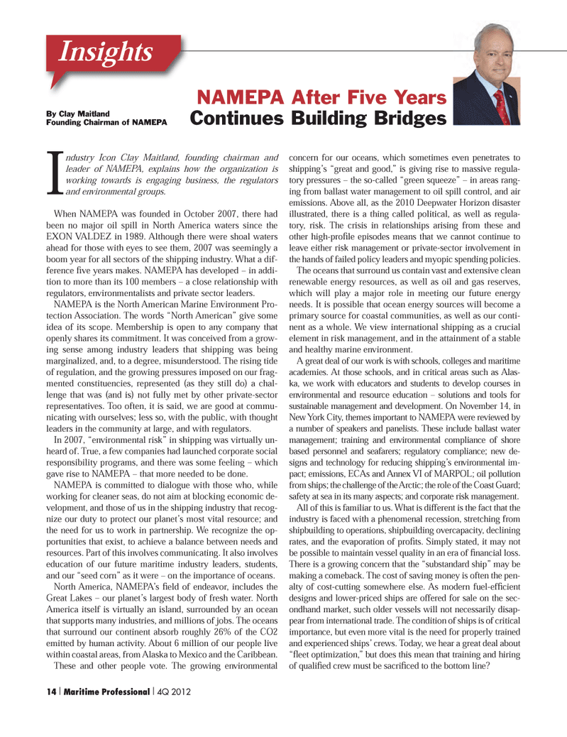Maritime Logistics Professional Magazine, page 14,  Q4 2012