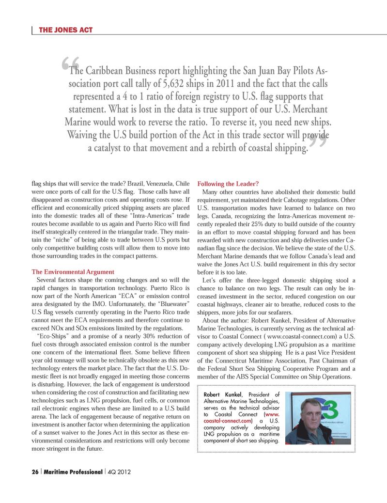 Maritime Logistics Professional Magazine, page 26,  Q4 2012