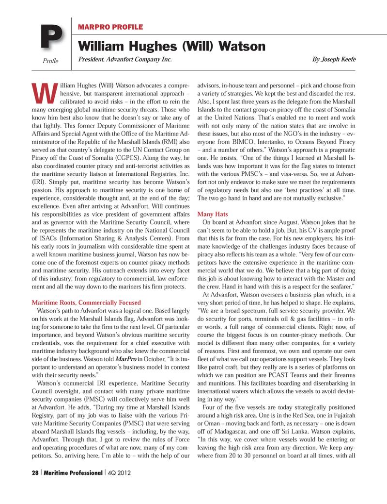 Maritime Logistics Professional Magazine, page 28,  Q4 2012