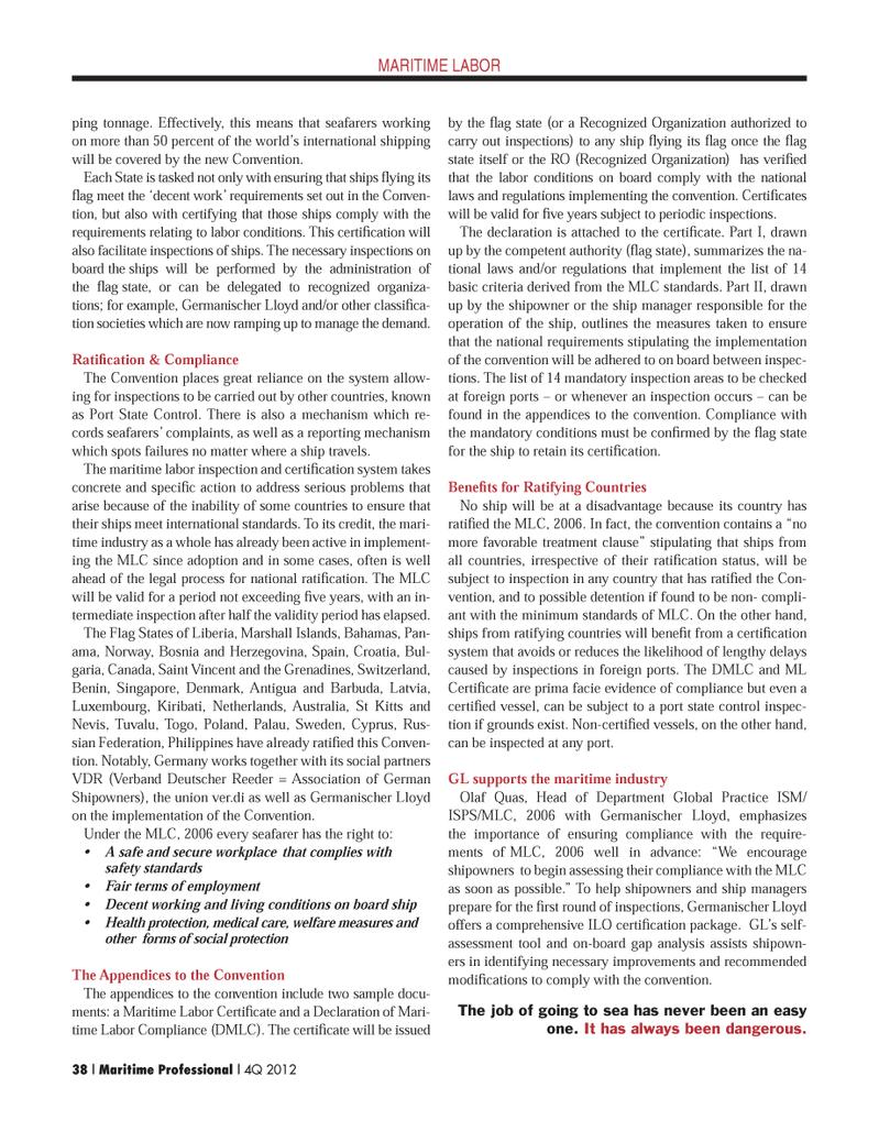 Maritime Logistics Professional Magazine, page 38,  Q4 2012