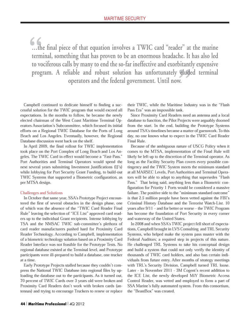 Maritime Logistics Professional Magazine, page 44,  Q4 2012