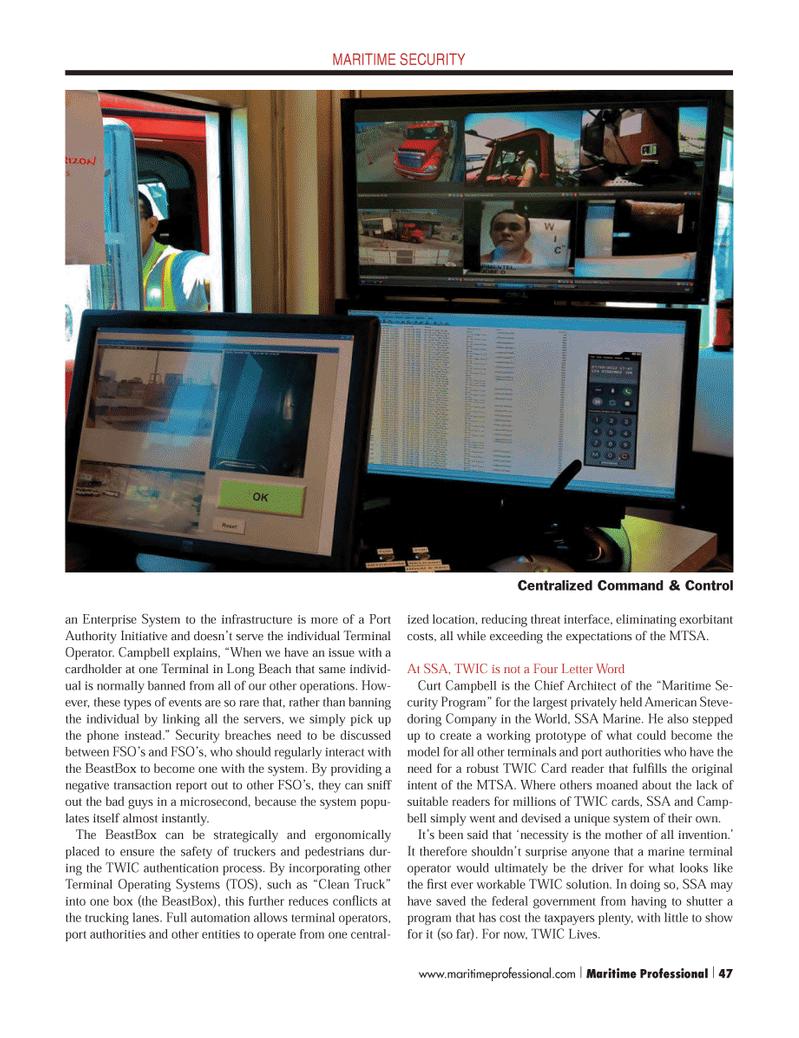 Maritime Logistics Professional Magazine, page 47,  Q4 2012