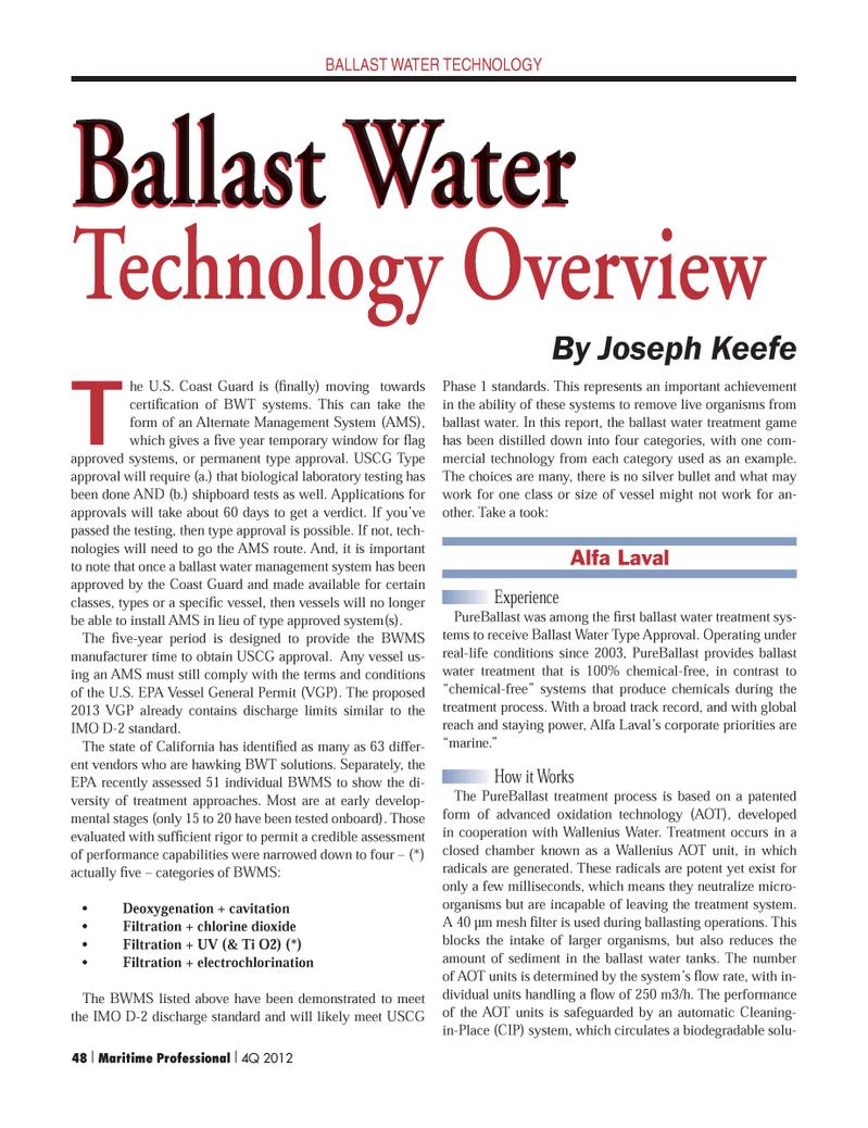 Maritime Logistics Professional Magazine, page 48,  Q4 2012