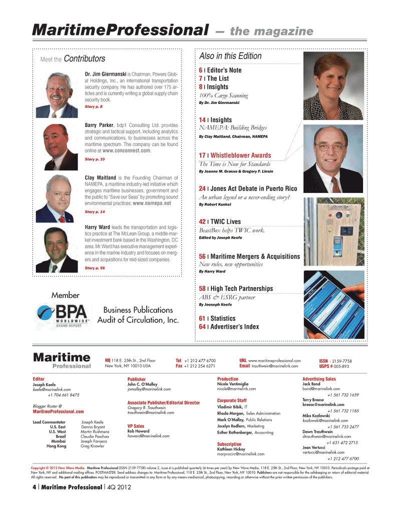 Maritime Logistics Professional Magazine, page 4,  Q4 2012