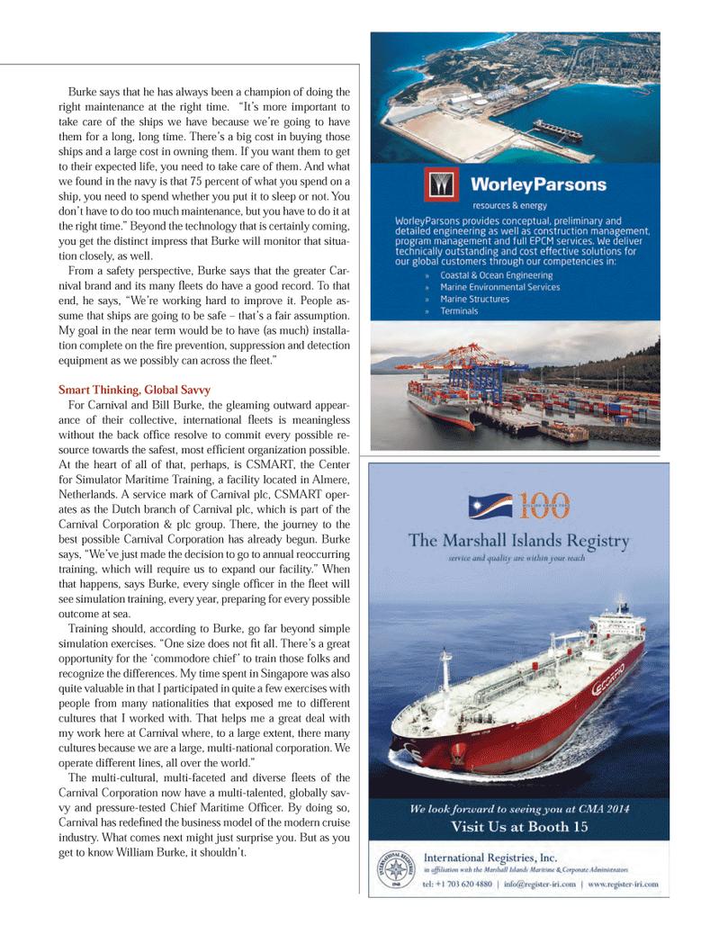 Maritime Logistics Professional Magazine, page 23,  Q1 2014 William Burke
