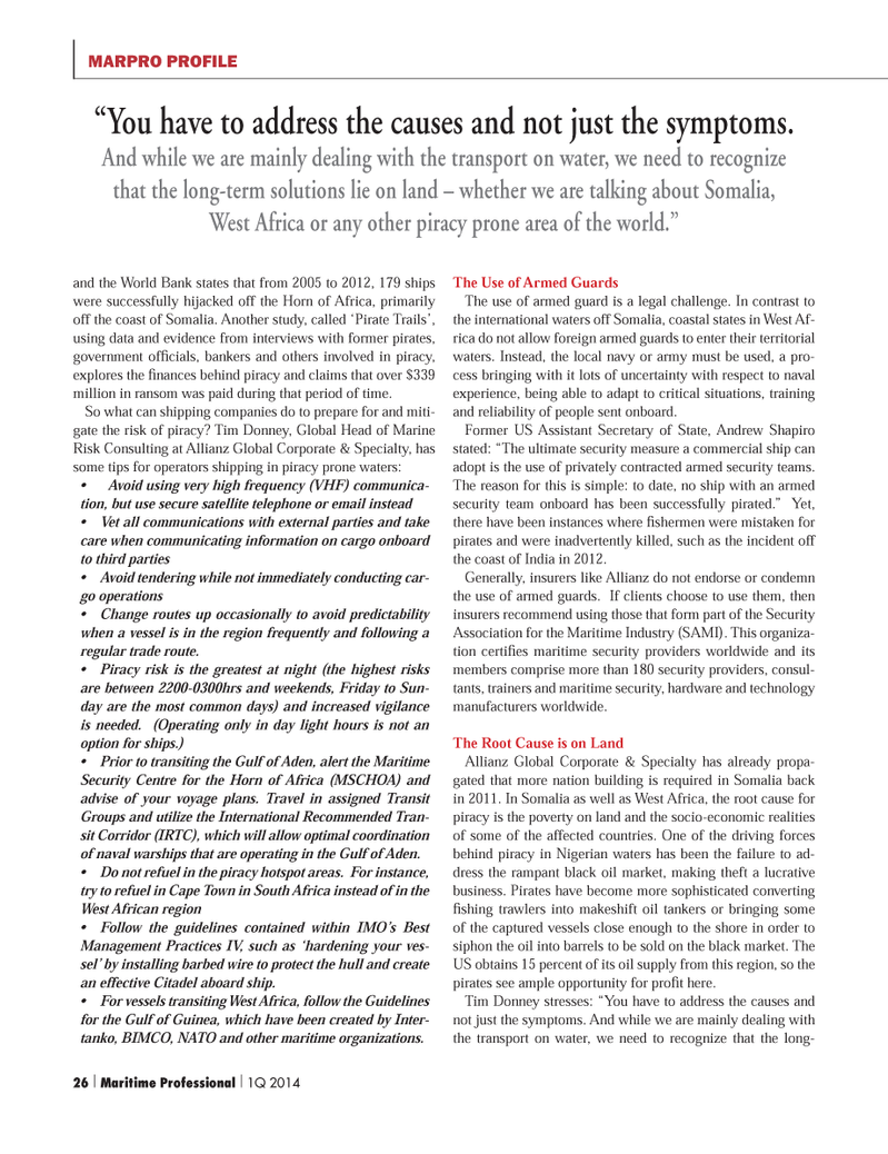 Maritime Logistics Professional Magazine, page 26,  Q1 2014 United Nations