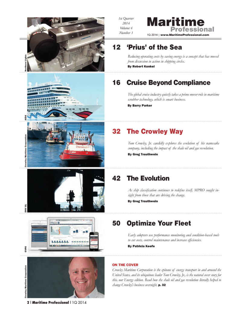 Maritime Logistics Professional Magazine, page 2,  Q1 2014 Barry Parker Tom Crowley , Jr.