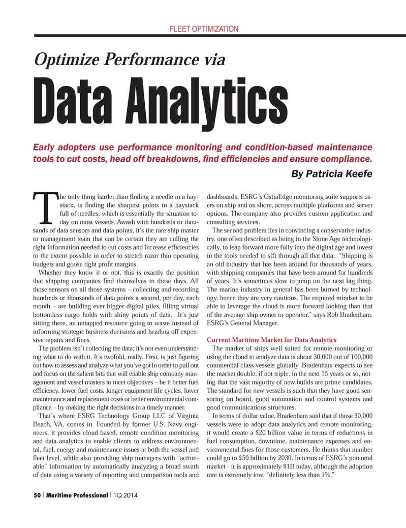 Maritime Logistics Professional Magazine, page 50,  Q1 2014 OstiaEdge monitoring suite
