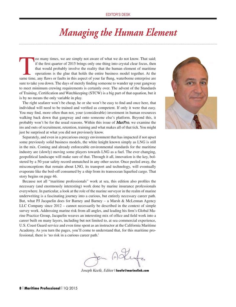 Maritime Logistics Professional Magazine, page 8,  Q1 2015