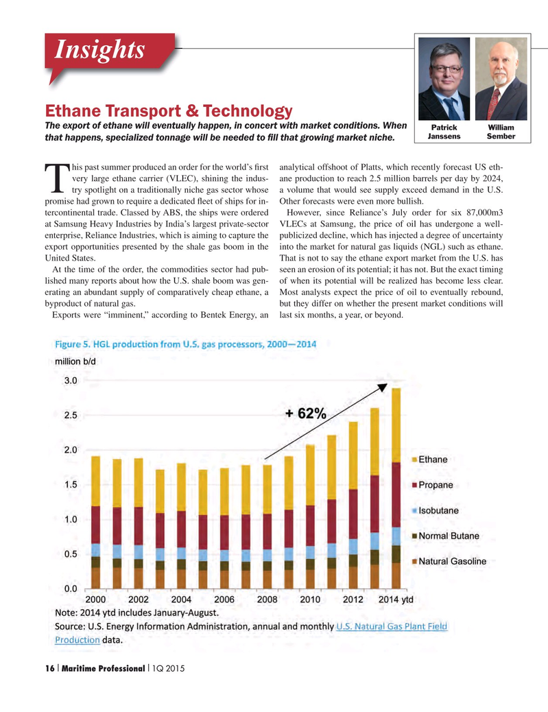 Maritime Logistics Professional Magazine, page 16,  Q1 2015