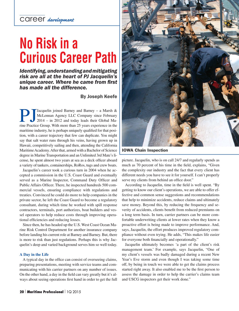 Maritime Logistics Professional Magazine, page 20,  Q1 2015