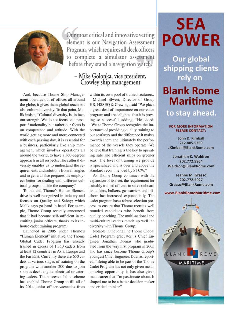 Maritime Logistics Professional Magazine, page 35,  Q1 2015