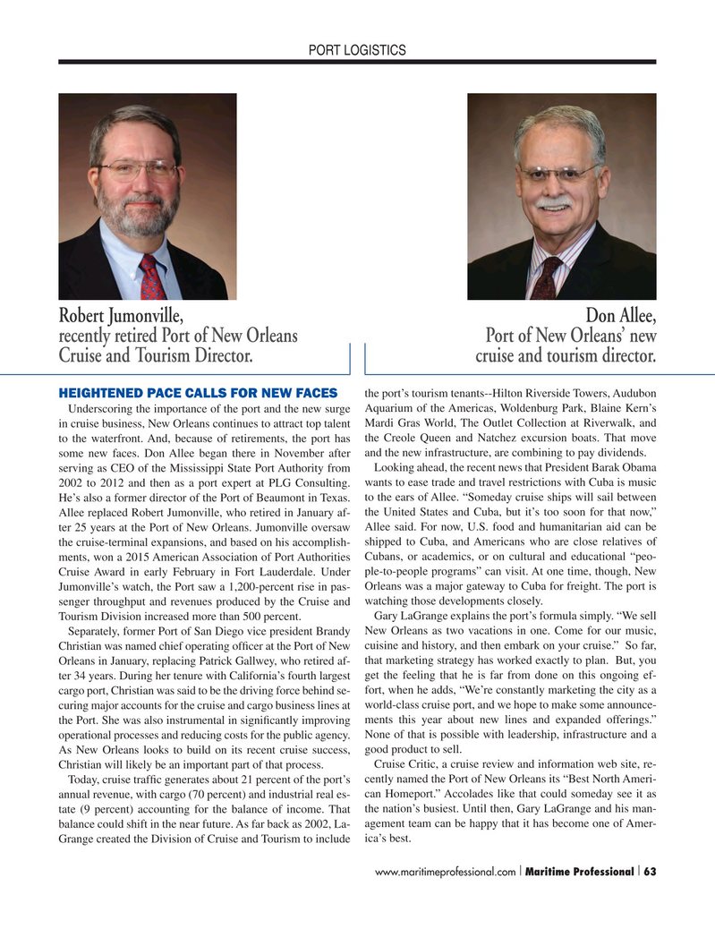 Maritime Logistics Professional Magazine, page 63,  Q1 2015
