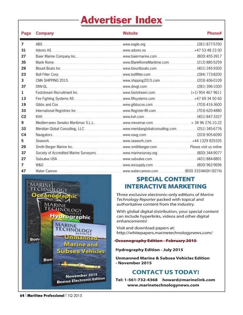 Maritime Logistics Professional Magazine, page 64,  Q1 2015