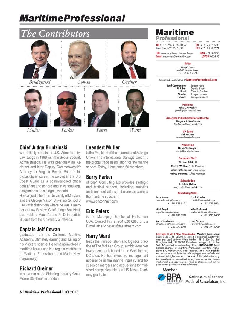 Maritime Logistics Professional Magazine, page 6,  Q1 2015