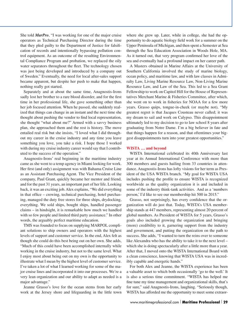Maritime Logistics Professional Magazine, page 29,  Q2 2015