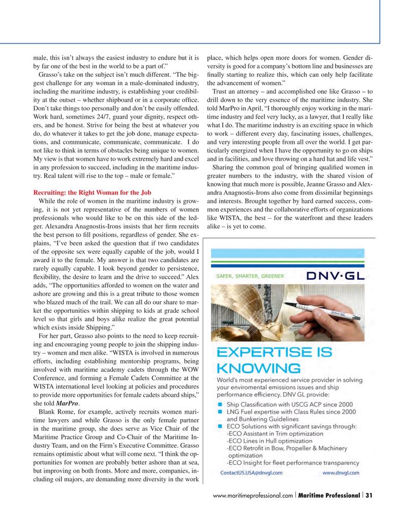 Maritime Logistics Professional Magazine, page 31,  Q2 2015