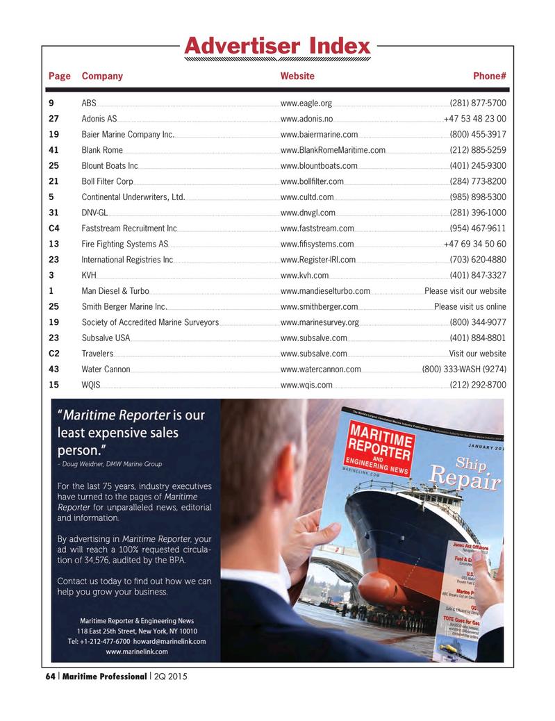 Maritime Logistics Professional Magazine, page 64,  Q2 2015