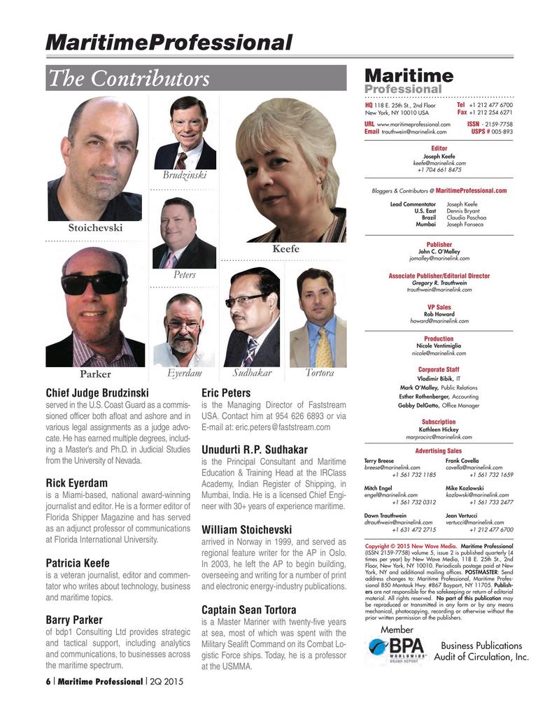 Maritime Logistics Professional Magazine, page 6,  Q2 2015