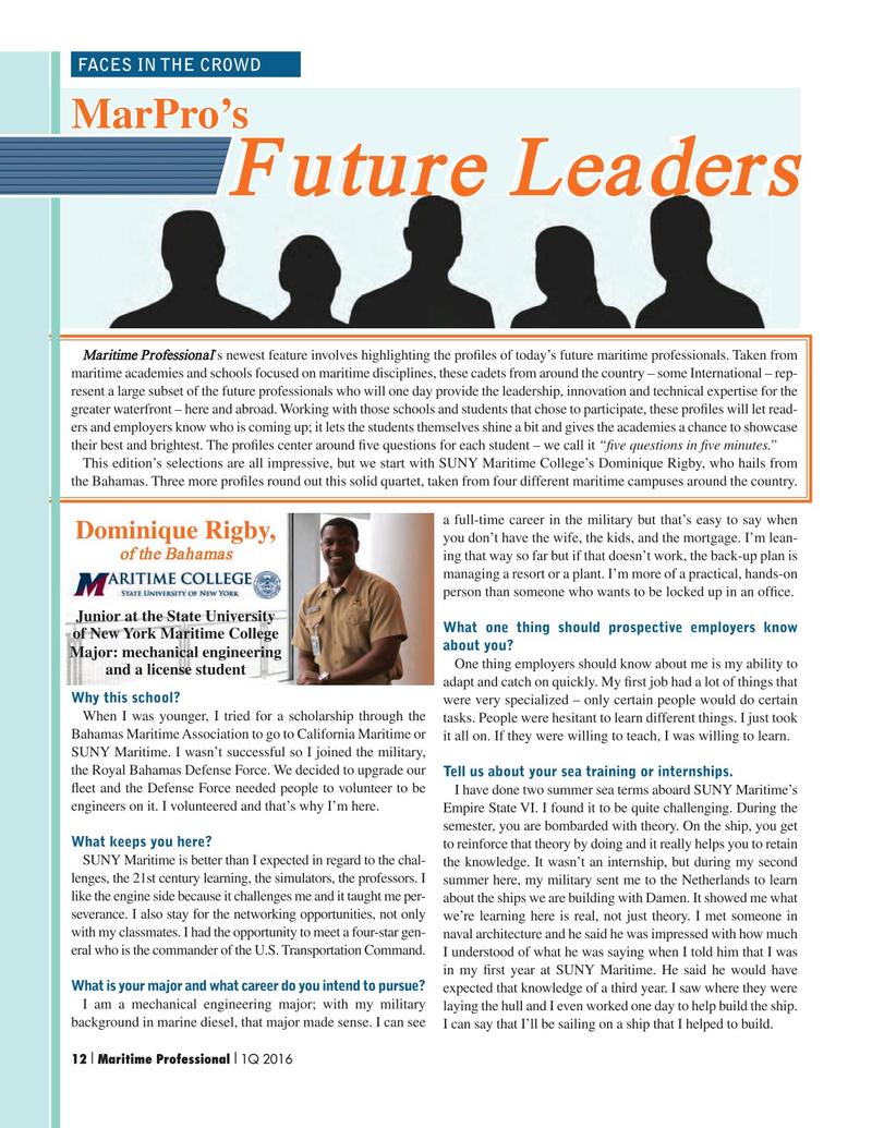 Maritime Logistics Professional Magazine, page 12,  Q1 2016