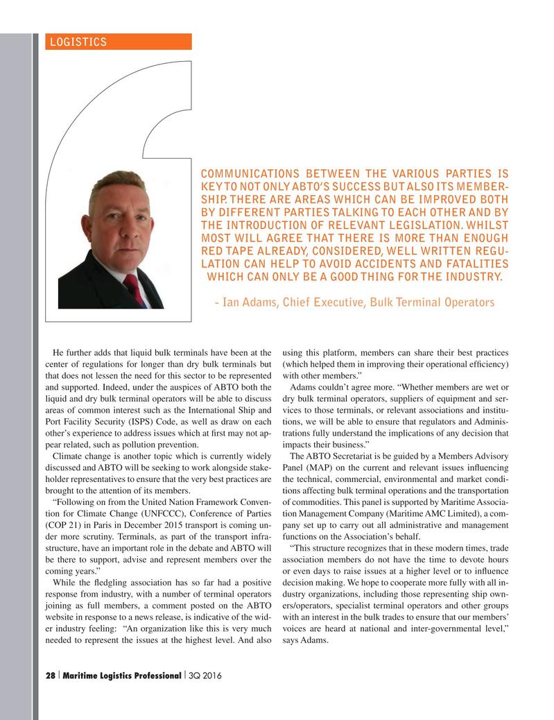 Maritime Logistics Professional Magazine, page 28,  Q3 2016