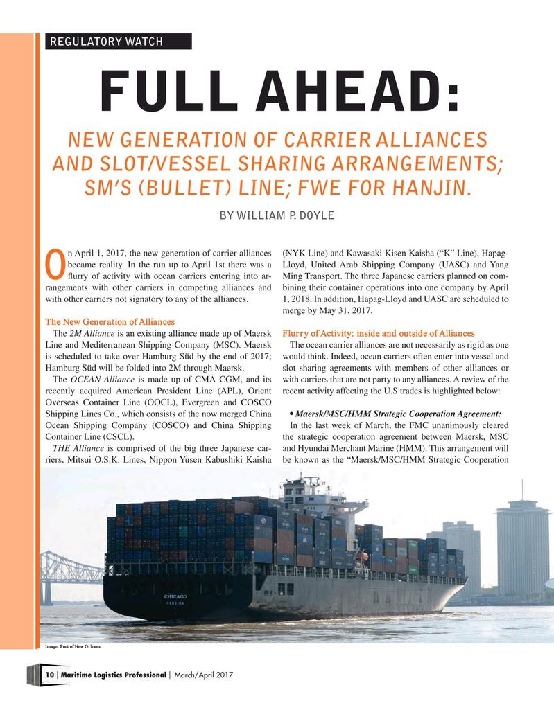 Maritime Logistics Professional Magazine, page 10,  Mar/Apr 2017