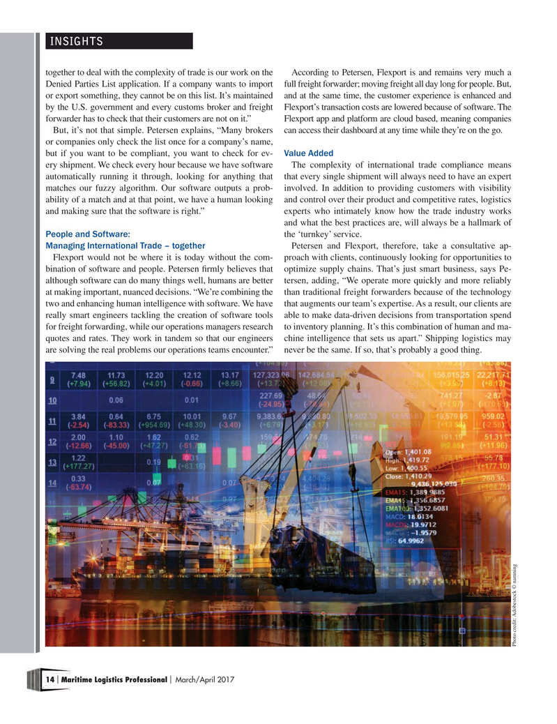 Maritime Logistics Professional Magazine, page 14,  Mar/Apr 2017