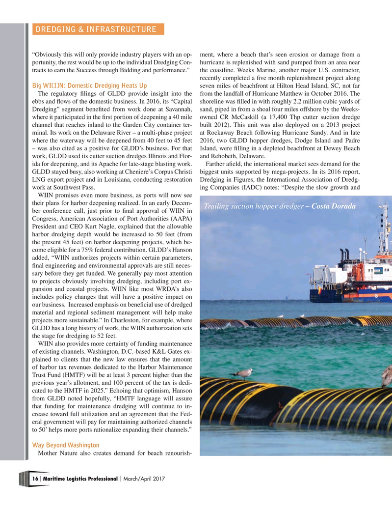 Maritime Logistics Professional Magazine, page 16,  Mar/Apr 2017